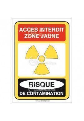 Accès interdit zone jaune risque de contamination Vinyl adhésif 75x105 mm