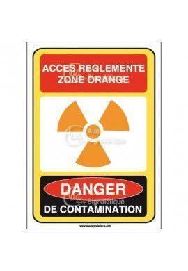 Accès réglementé zone orange danger de contamination Vinyl adhésif 75x105 mm