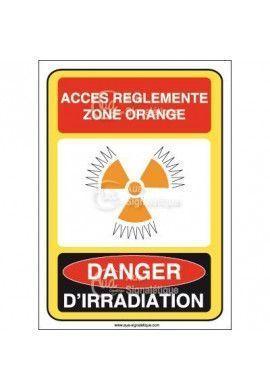 Accès réglementé orange danger irra et conta Vinyl adhésif 75x105 mm