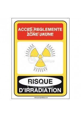 Accès réglementé zone jaune risque d'irradiation Vinyl adhésif 75x105 mm