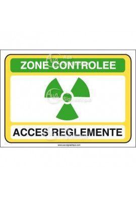 Zone contrôlée accès réglementé Vinyl adhésif 75x105 mm