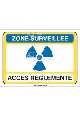 Zone surveillée accès réglementé  Vinyl adhésif 75x105 mm