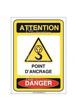 Panneau attention point d'ancrage danger- AI