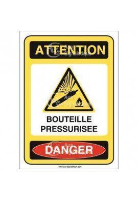 Panneau attention bouteille pressurisée danger - AI