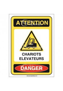 Panneau attention chariots elevateurs danger - AI