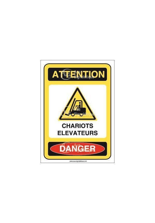 Panneau attention chariots elevateurs danger - ai