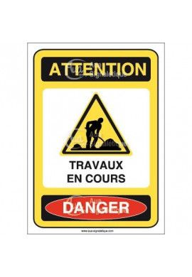 Panneau attention travaux en cours danger - AI