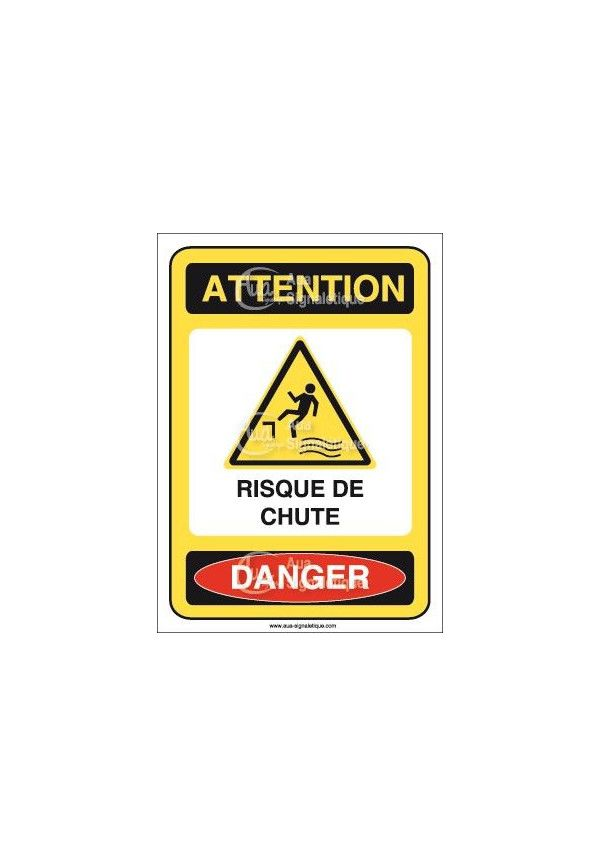 Panneau attention risque de chute danger - ai