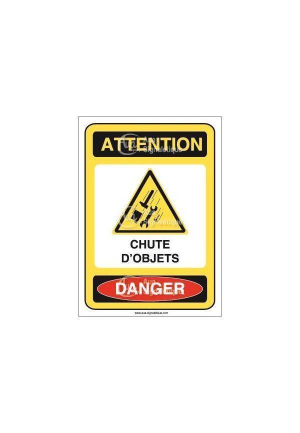 Panneau attention chute d'objets danger Vinyl adhésif 75x105 mm