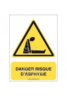 Panneau danger risque d'asphyxie Vinyl adhésif 75x105 mm
