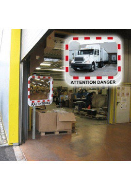 Miroirs de sécurité industrie et logistique avec Message d'Avertissement