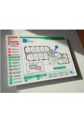 Plan d'évacuation horizontal Plexiglas 4mm - A3