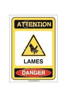 Panneau attention lames danger - AI