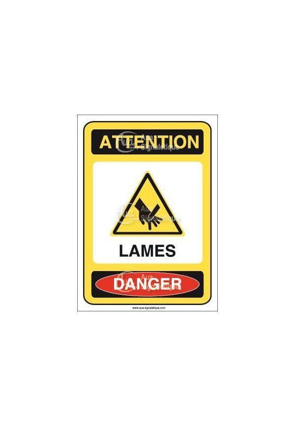 Panneau attention lames danger