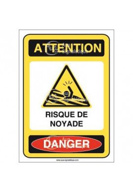 Panneau attention risque de noyade danger - AI