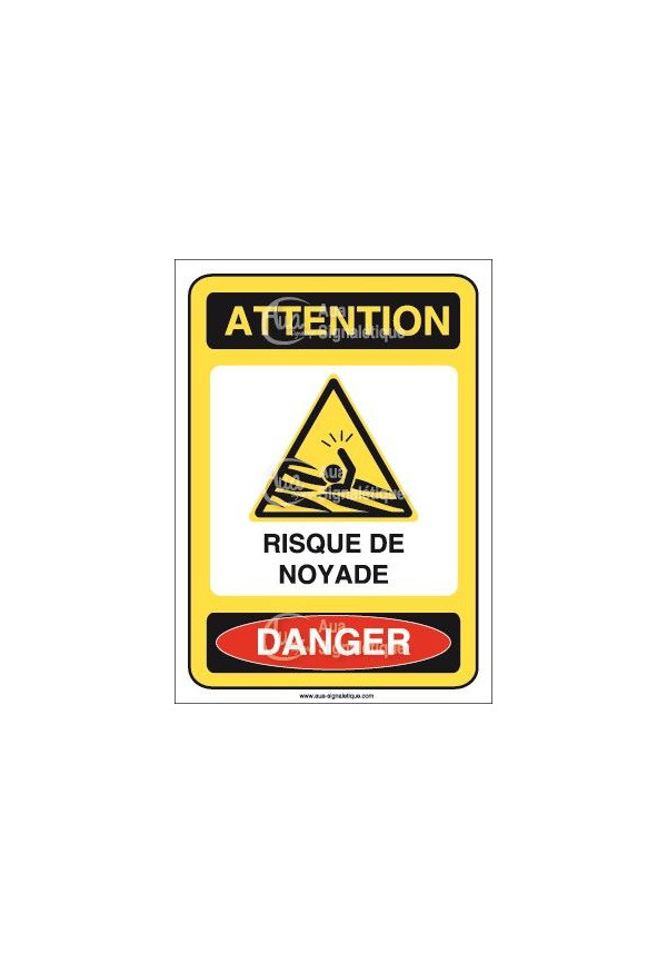 Panneau attention risque de noyade danger