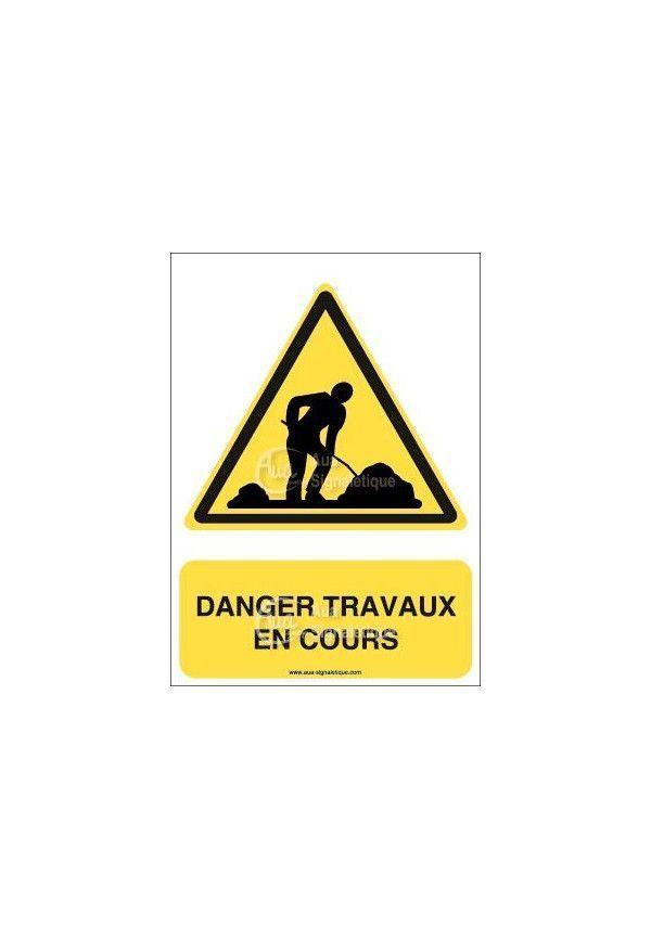 Panneau danger travaux en cours