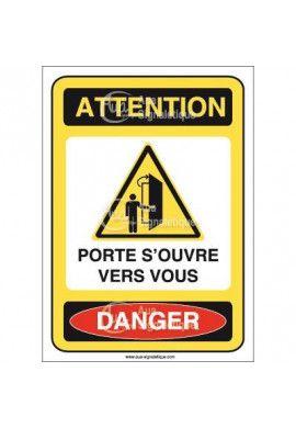 Panneau attention porte s'ouvre vers vous danger - AI
