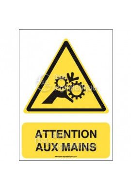 Panneau Attention aux Mains - AI