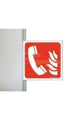 Drapeau Téléphone incendie - F006 - PVC 1.5mm -200x200 Mm