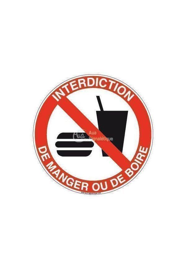 Panneau Interdiction Manger ou Boire - R