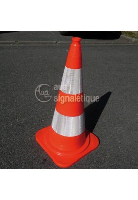 Cônes de Signalisation base orange Classe 2 - 2 bandes - 750mm